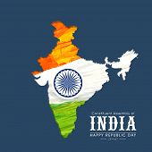 Republic of India map in national tricolor with Ashoka Wheel on blue background for Happy Indian Republic Day celebration.  poster