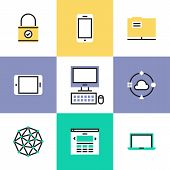 Cloud computing technology social networking communication digital devices website access and computer security. Unusual line icons set flat design abstract pictogram vector illustration concept. poster
