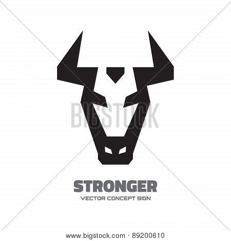 Bull head - vector logo graphic illustration.