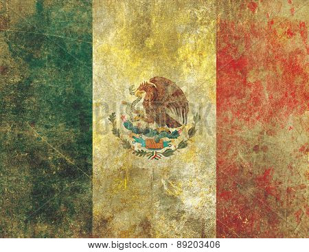 Damaged And Faded Old Grunge Style Mexican Flag