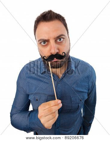 Young Man With Photo Booth Mustache