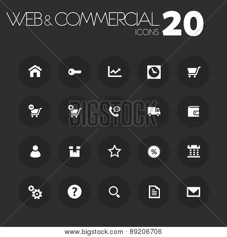 Thin commercial icons on dark gray
