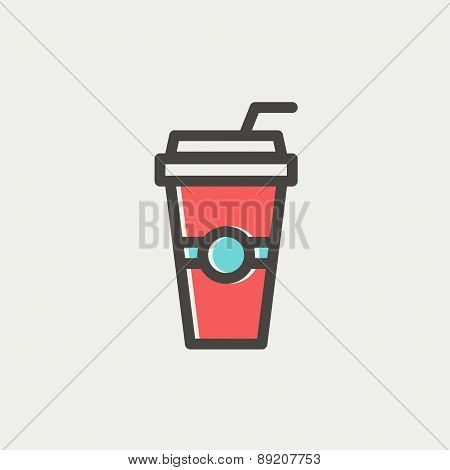 Soda in a plastic cup with straw thin line icon