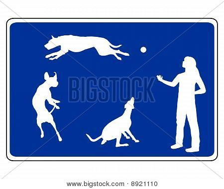 Detailed and colorful illustration of traffic sign for dogs poster