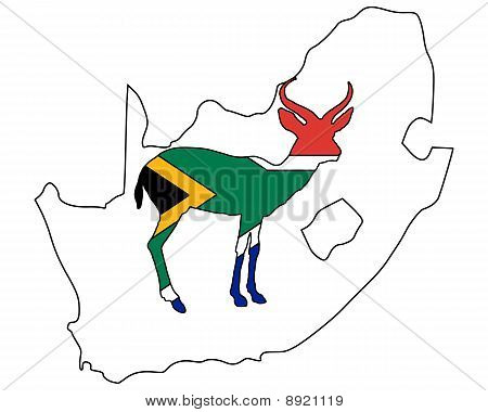 Detailed and colorful illustration of south Africa antilope poster