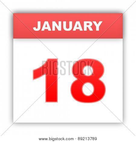 January 18. Day on the calendar. 3d