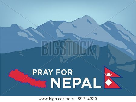 Pray for Nepal Earthquake Crisis concept with map and flag