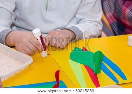 Child Hands Glue Colored Paper On Application Master Class