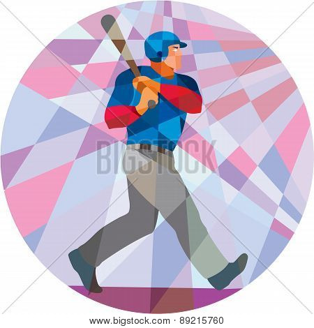 Baseball Batter Hitter Batting Low Polygon