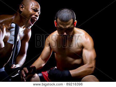 Trainer Motivating Fighter