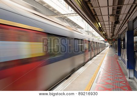 HONG KONG - APRIL 03, 2015: The Mass Transit Railway station. MTR is the rapid transit railway system in Hong Kong. It is one of the most profitable systems in the world