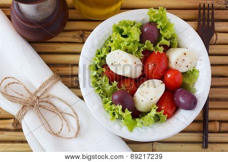 Salad Of Heart Of Palm (palmito), Cherry Tomatos, Olives, Black Pepper