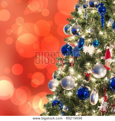 Closeup of Christmas-tree decorations with boked background