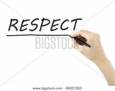respect word written by man's hand on white background poster