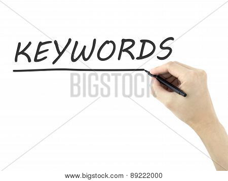 keywords word written by man's hand on white background poster