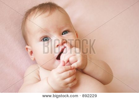 Baby Girl With Foot In Her Mouth