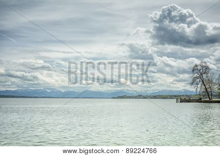 An image of some dramatic clouds at the Alps in Bavaria Germany