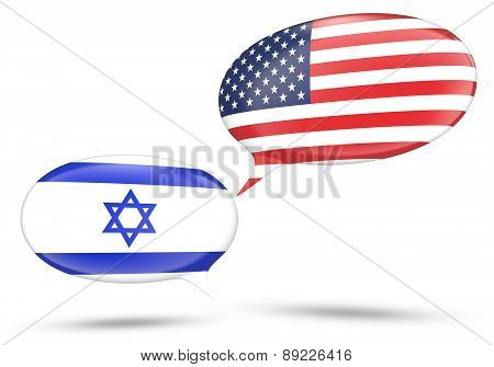 Israel - United States relations concept with speech bubbles