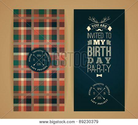 Happy Birthday Invitation, Vintage Retro Background With Plaid Pattern.