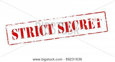 Rubber stamp with text strict secret inside vector illustration