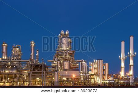 Refinery plant of a petrochemical industry at Europort harbor, Rotterdam Netherlands poster