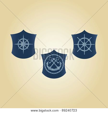 Vector set of maritime symbols. Anchor, steering wheel, steering control, mariner's compass