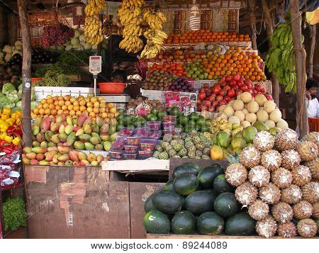 Exotic fruit in the market in the Asian tropical country