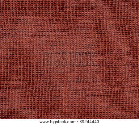 Burnt umber color burlap texture background