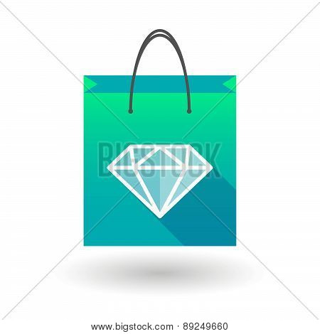 Blue Shopping Bag Icon With A Diamond