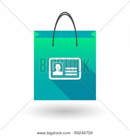 Blue Shopping Bag Icon With An Id Card