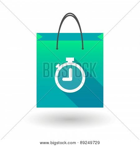 Blue Shopping Bag Icon With A Timer