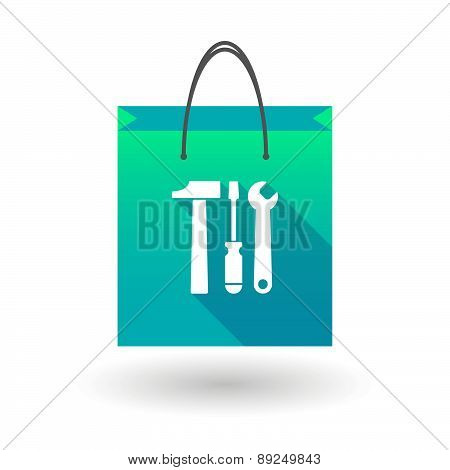 Blue Shopping Bag Icon With A Tool Set