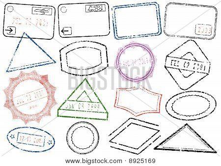 Passport or post stamp vector illustration set.