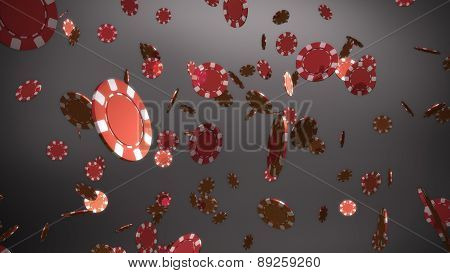 Red Casino Chips Grey Background