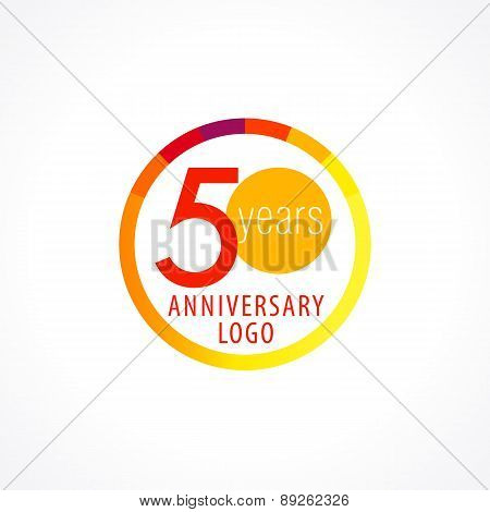 50 years old circle logo. Anniversary year of 50 th vector chart template medal. Birthday greetings circle celebrates. Celebrating numbers. Colorful stamp with diagram. Figures of ages. Letter O.