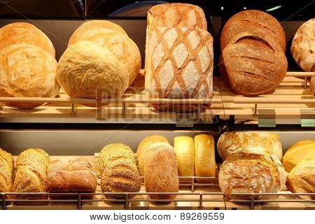 Fresh bread in the bakery