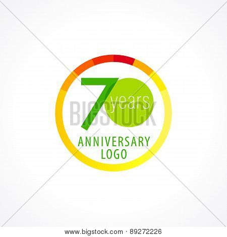 70 years old circle logo. Anniversary year of 70 th vector chart template medal. Birthday greetings circle celebrates. Celebrating numbers. Colorful stamp with diagram. Figures of ages. Letter O.