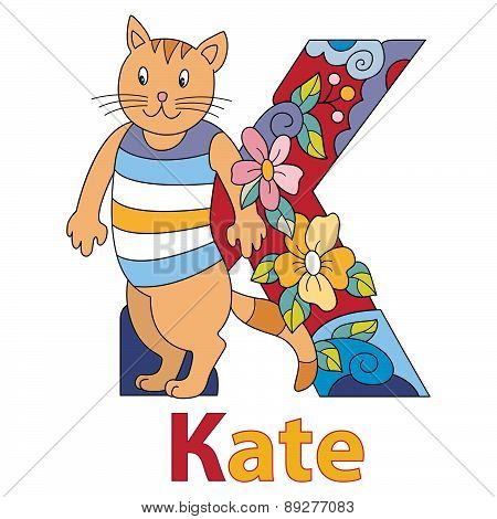 The name of Kate with decorative initial, capital letter with nice cats and kittens and decorative flowers. Vector image. poster