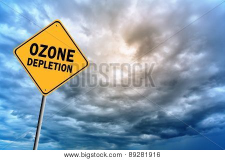 Sign With Words 'ozone Depletion' And Thunderclouds