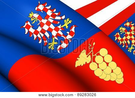 3D Flag of South Moravian Region, Czech Republic. Close Up. poster