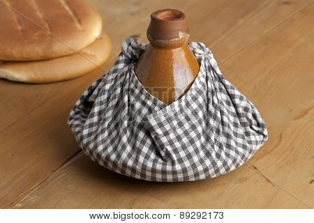 Traditional Moroccan tagine wrapped in a cloth as a gift and to keep warm