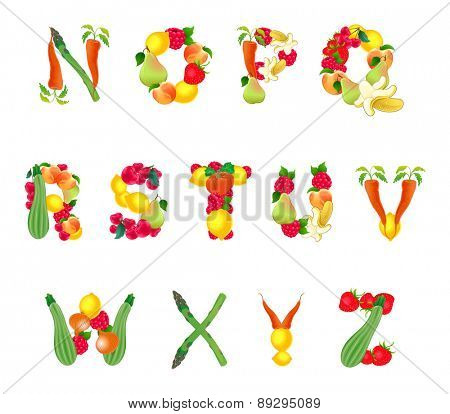 Alphabet composed by fruits and vegetables, second part. Vector isolated elements.