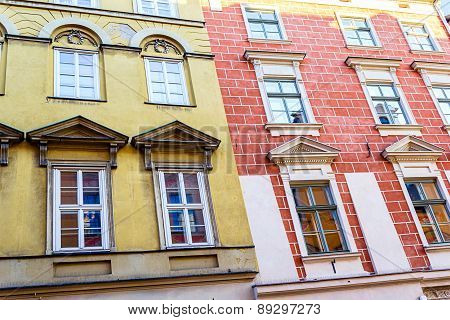 The Old, Historical Tenements At The Old Market Square In Cracow, Poland ( Krakow, Polska)