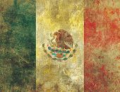 A heavily worn damaged and faded old retro style grunge flag of Mexico with the appearance of faded paint on concrete or stone. poster