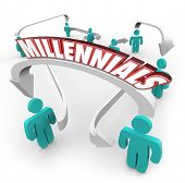 Millennials word on an arrow connecting young people in the youth demographic known for technology savvy, social media and networking poster