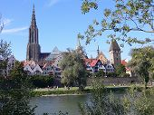 view of the city of ulm germany with the cathedral predominating the scene poster