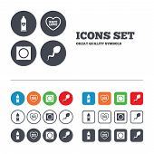 Safe sex love icons. Condom in package symbol. Sperm sign. Fertilization or insemination. Web buttons set. Circles and squares templates. Vector poster