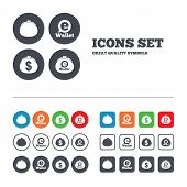Electronic wallet icons. Dollar cash bag sign. eWallet symbol. Web buttons set. Circles and squares templates. Vector poster