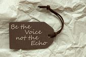 One Brown Label Or Tag With Brown Ribbon On Crumpled Paper Background With English Life Quote Be The Voice Not The Echo Vintage Or Retro Style poster