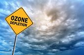 Sign with words 'Ozone depletion' on a background of thunderclouds in cold tones poster